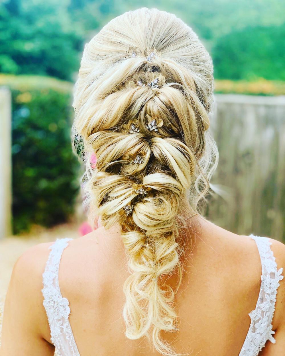 Beautiful bridal hair using extensions and braiding - Make Me Bridal Artist: RLM wedding makeup. #bohemian #mermaidbraid