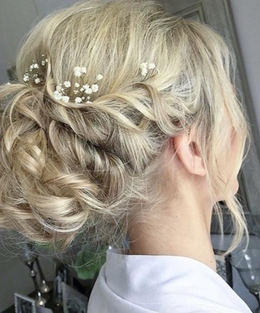 - Make Me Bridal Artist: Wedding hair by marie. #classic #glamorous #boho #curls #blonde #gypsophila #bridalhair #updo #soft #hairup #bridalhairup