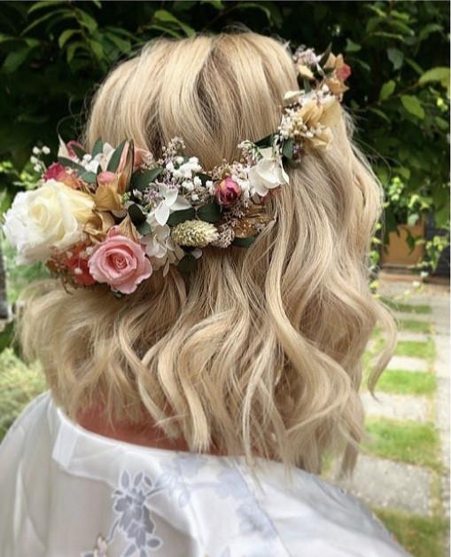 - Make Me Bridal Artist: Wedding hair by marie. #bohemian #glamorous #boho #flowercrown #curls #blonde #roses #gypsophila #gettingready #bridalhair #flowersinherhair #soft