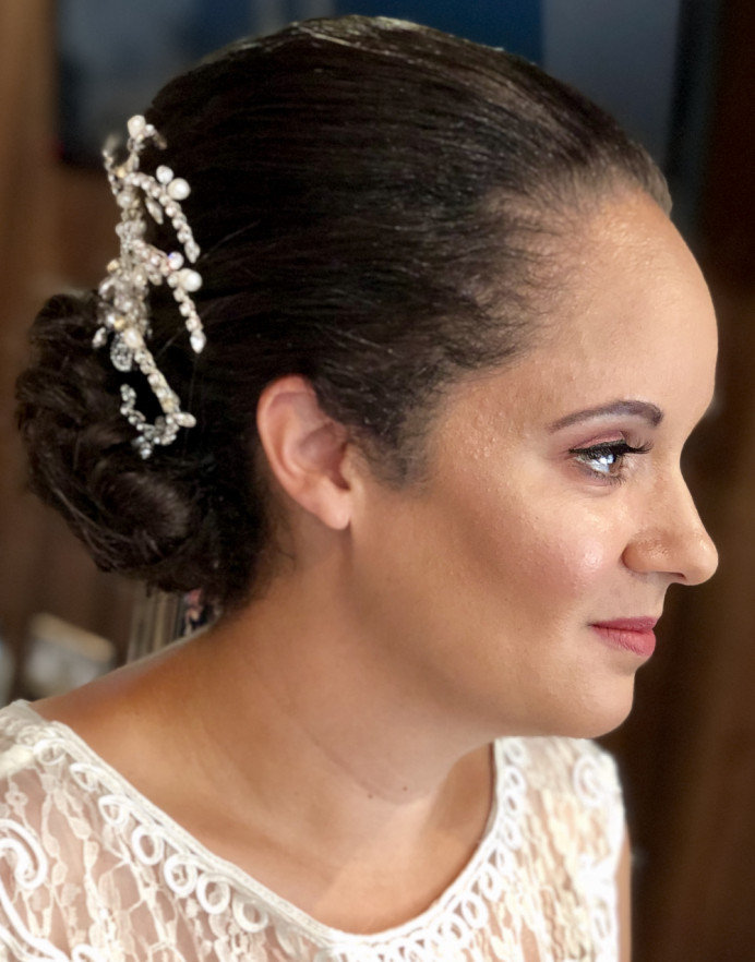 Beautiful fresh spring makeup and classic sleek low bun for this gorgeous Bride - Make Me Bridal Artist: Makeup by Fi Farrelly. #classic #bridalmakeup #updo