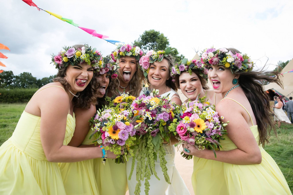 Hanging out with the Besties - Bride with her Bridesmaids stealing the show at this festival themed wedding - Make Me Bridal Artist: Makeup by Fi Farrelly. Photography by: Makeup by Fi Farrelly. #bridesmaidmakeup #bridemakeup #bridetribe