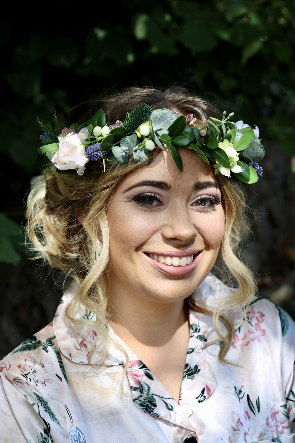 A fresh face with pretty taupes and pinks as the colour palette - Make Me Bridal Artist: Kimberly Holland Bridal Hair & Makeup Artist. Photography by: Kimberly Holland. #flowercrown #bridalmakeup #glow #bridalhair #flowersinherhair #pretty #fresh #lashextensions #weddinghair #bridalhairandmakeup