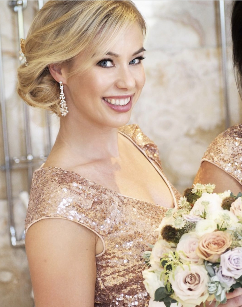 Very glamorous wedding at Hedsor House all in rose gold tones. This is one of the bridesmaids - Make Me Bridal Artist: Mel Kinsman. Photography by: Emma Jane Lewis. #classic #vintage #glamorous #rosegold #prettymakeup