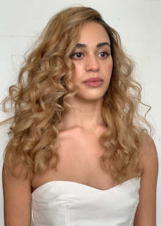 Big curly hair, paired with glowing skin for E&W Couture shoot 2019. - Make Me Bridal Artist: Brows + Brides. #naturalmakeup #curls