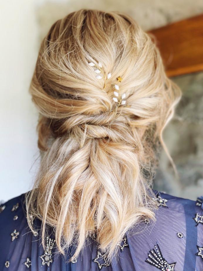 A simple, textured style. Perfect for bridesmaids and brides alike! - Make Me Bridal Artist: Brows + Brides. #bohemian #boho #halfuphair #bridalhair #bridesmaidhair #texturedupdo #textured #coolbride