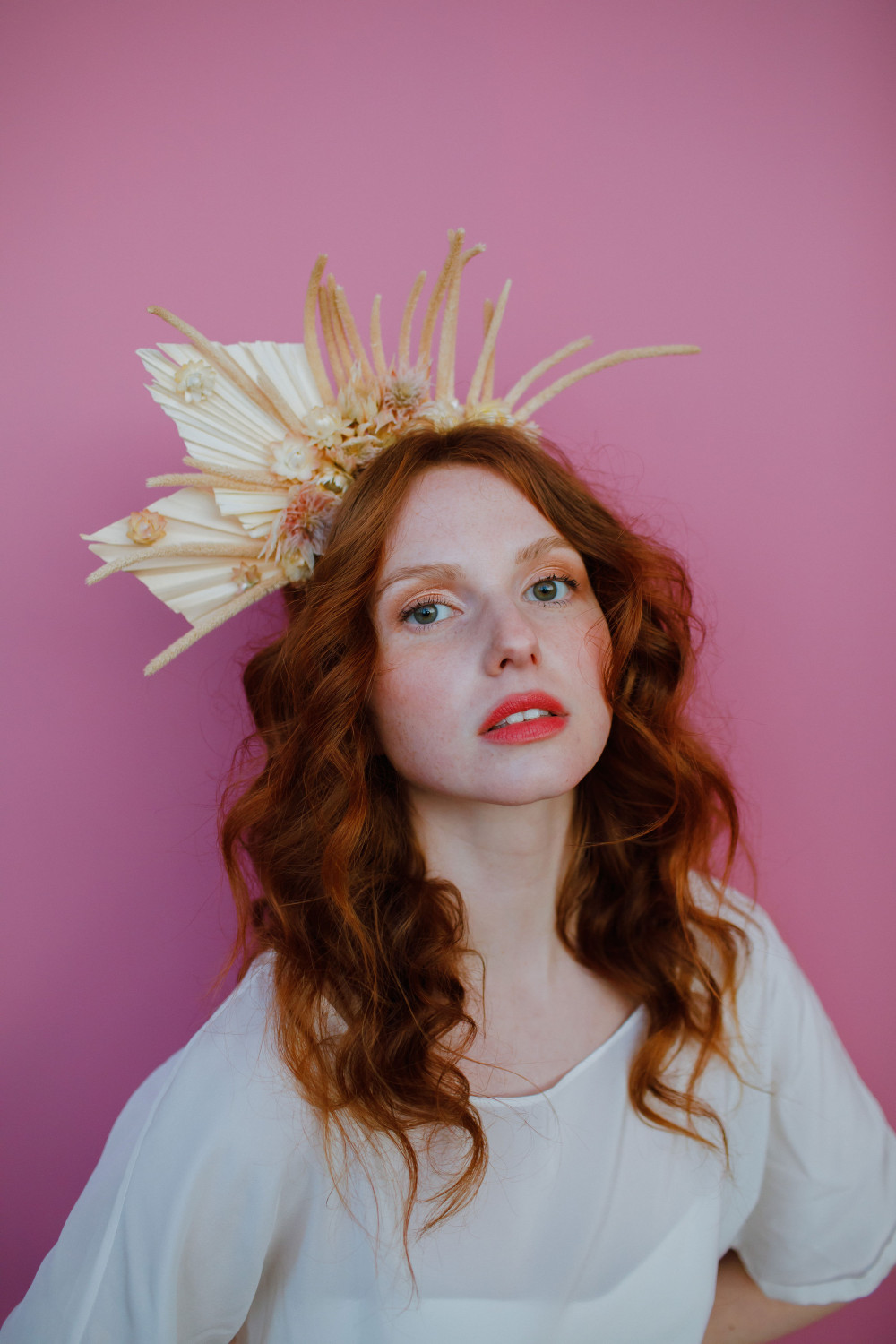 - Make Me Bridal Artist: Brows + Brides. Photography by: Matt Bowen. #naturalmakeup #curls #redhead #floralheaddress #headband #curlyhair