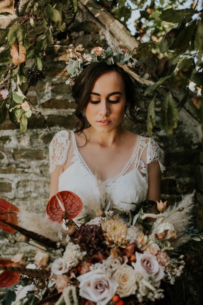 Boho Bridal look - Make Me Bridal Artist: Charlotte Mallinder Professional Makeup Artist. #flowercrown #bohobride #bridalmakeup