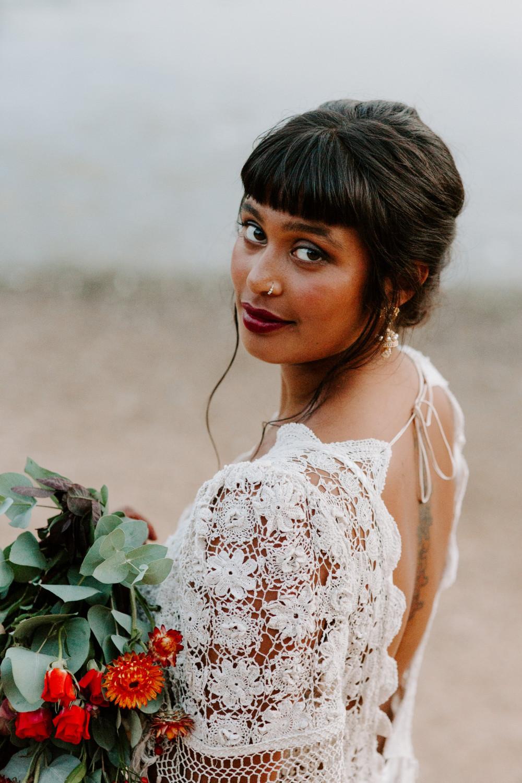 - Make Me Bridal Artist: Vicky Jiggens Makeup Artist. Photography by: Caroline Opacic. #smokeyeyes #redlip #alternative #naturalskin #darklip