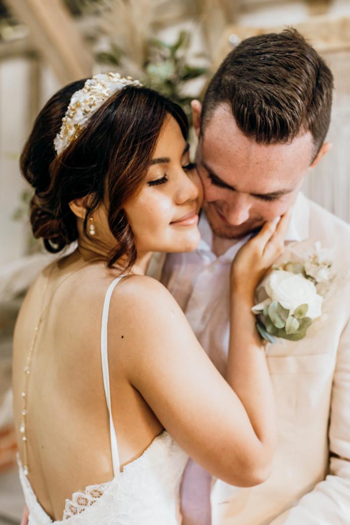 - Make Me Bridal Artist: Vicky Jiggens Makeup Artist. Photography by: Kate Boston. #goldeyeshadow #bohobride #lowupdo #modernbride #softglammakeup