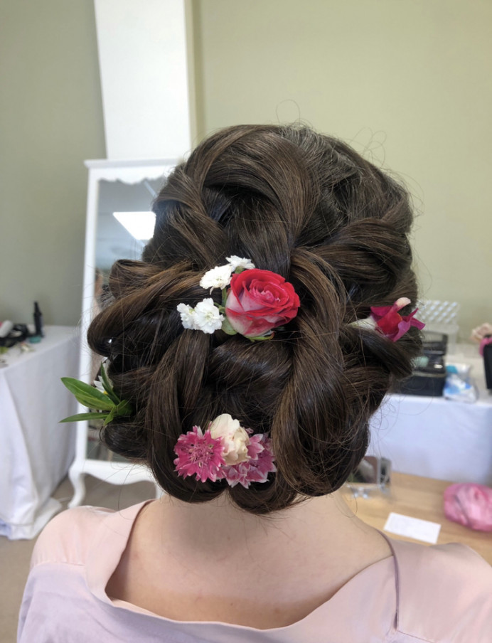 - Make Me Bridal Artist: Rebecca Haines Makeup and Hair. Photography by: Me. #bridalhair #flowersinherhair #updo