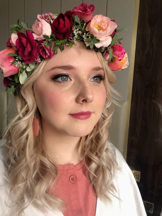 Bride with flower crown - Make Me Bridal Artist: Rebecca Haines Makeup and Hair. Photography by: me.