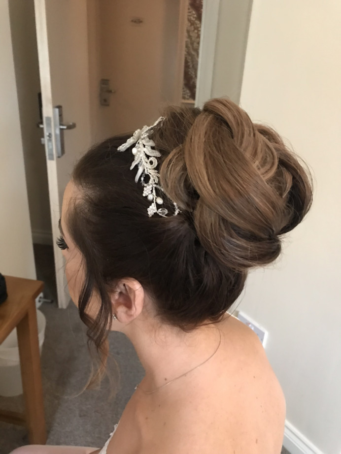 Bridal hair high bun-by me - Make Me Bridal Artist: Rebecca Haines Makeup and Hair. Photography by: Me.