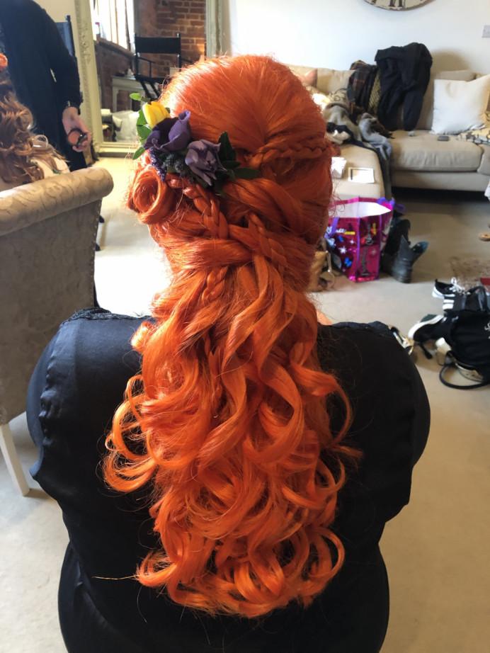 - Make Me Bridal Artist: Rebecca Haines Makeup and Hair. Photography by: me. #vintage #bridesmaidhair #alternative #curradinebarns #flowerinhair #braids #curls #haluphalfdown #orangehair