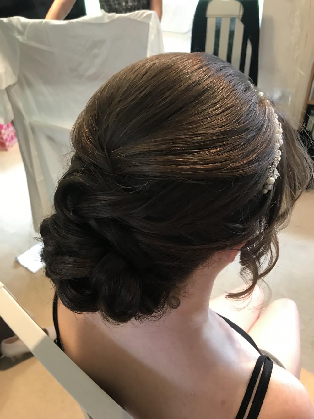 - Make Me Bridal Artist: Rebecca Haines Makeup and Hair. Photography by: Me. #lowbun #bridesmaidhair #bridehair #detailedupdo