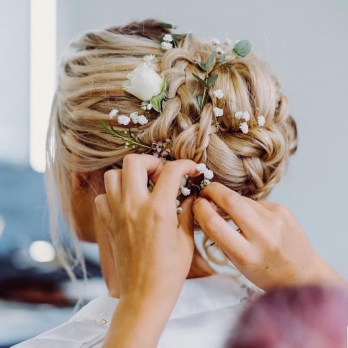 - Make Me Bridal Artist: Bridal hair by suzy. #flowersinherhair #bridesmaidhair #braidedupdo #bohobride #bohohair