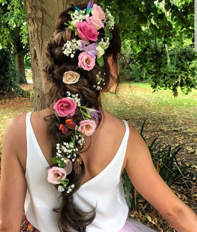 - Make Me Bridal Artist: Bridal hair by suzy. #bridalhair #flowersinherhair #fishtailbraid #bohobride #mermaidbraid #chunkyplait