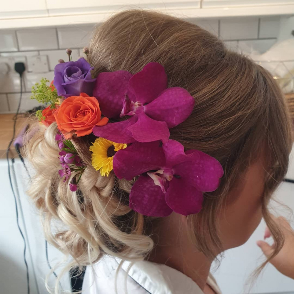 - Make Me Bridal Artist: Bridal hair by suzy. #bridalhair #bridalhairstylist #hairup #flowersinherhair