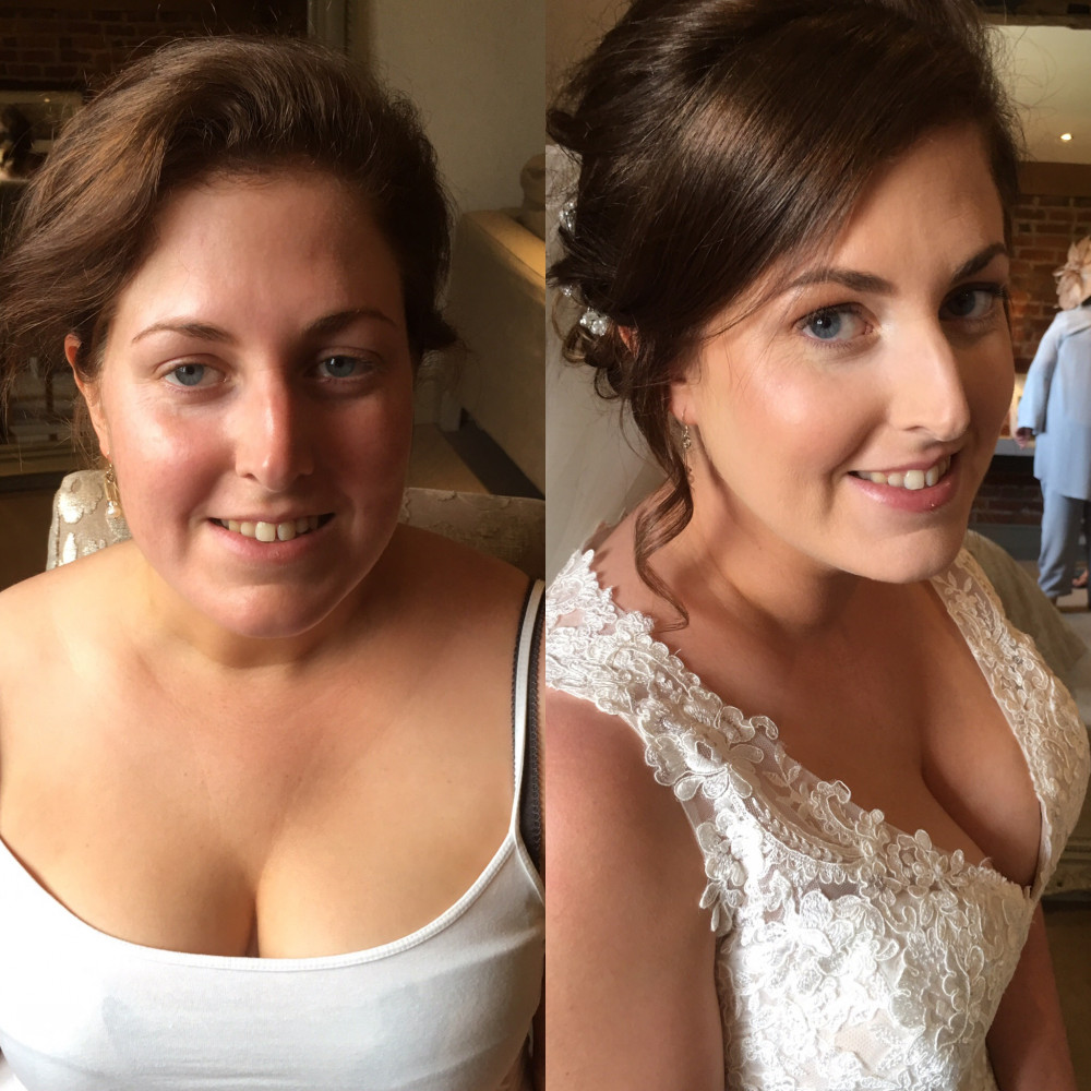 Anna hardly wears any makeup on a daily basis and when she does it is very minimal. Anna asked for a bridal makeup look that enhances her natural beauty and made her look made up without being over the top. - Make Me Bridal Artist: Makeup By Mary. #naturalmakeup #lowupdo #naturalweddingmakeup #forthenaturalbride #beforeandafter