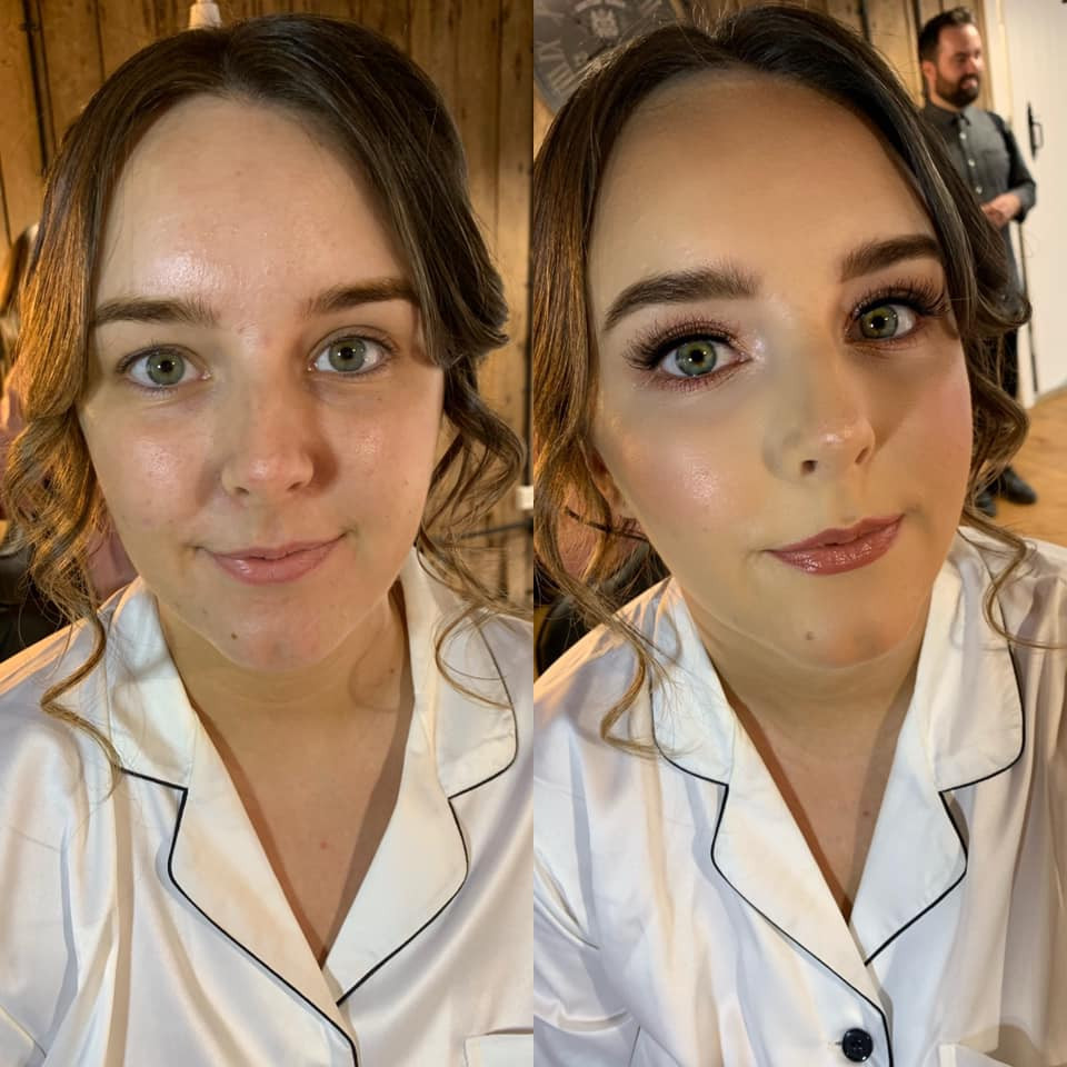 The GORGEOUS Sophie on her big day on the 07/08/2021. She got married at Stock Farm Barn (Tatton Weddings). They had the most gorgeous getting ready room too! I feel like a lot of venues have accomodated for hair and makeup artists since coming out of lockdown.  Sophie wanted a glowing glam look with rose gold tones & that's exactly what we did! The most stunning bride! <3 - Make Me Bridal Artist: Joanne Lucas Makeup Artistry. Photography by: Me - Iphone. #glamorous #rosegold #glowingskin #glowing