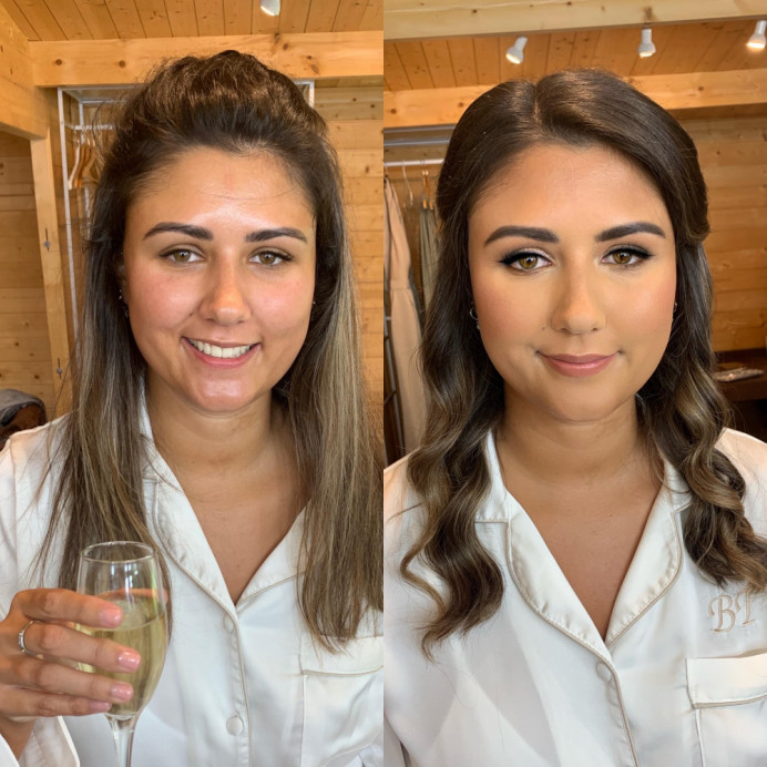 My bride Bryony - before & after. Full coverage on the base using the Charlotte Tilbury Airbrush Flawless Foundation, Airbrush Flawless Powder, Charlotte Tilbury Pillowtalk Lipstick. - Make Me Bridal Artist: Joanne Lucas Makeup Artistry. Photography by: Me - Iphone. #bridalmakeup #glamourous #glowingskin #beforeandafter
