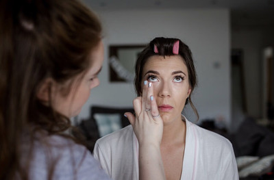 Getting Holly ready for her big day. - Make Me Bridal Artist: Joanne Lucas Makeup Artistry. Photography by: Steve Grogan. #bridalmakeup #glambride #gorgeous