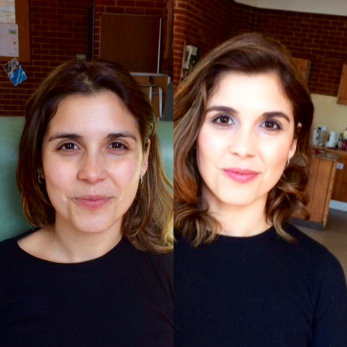 This is a little before and after photo by my iPhone - Make Me Bridal Artist: Viktoria Kohl Makeup and Hair.