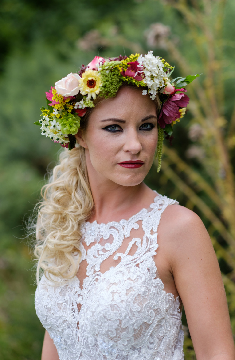 A beautiful colourful flower crown for a quirky wedding - Make Me Bridal Artist: Viktoria Kohl Makeup and Hair. Photography by: Gareth Davies. #boho #flowercrown