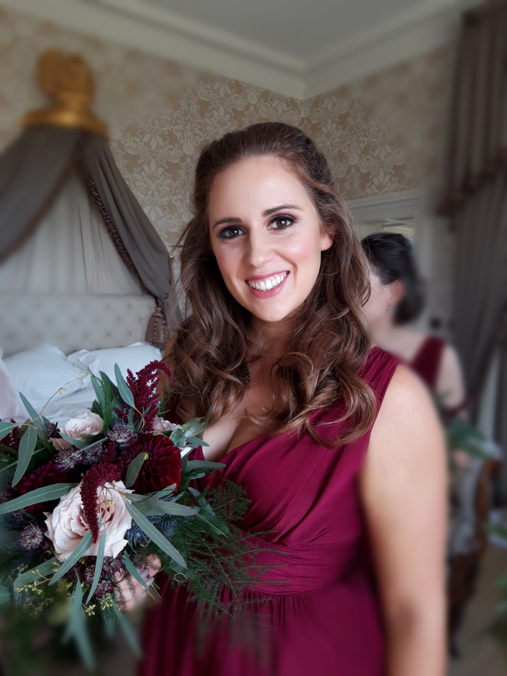 A glamorous wedding in Couldray House where this bridesmaid chose glam makeup and hair. Photo taken by Samsung mobile phone - Make Me Bridal Artist: Viktoria Kohl Makeup and Hair. #bridesmaidhairandmakeup #glam #glamourous