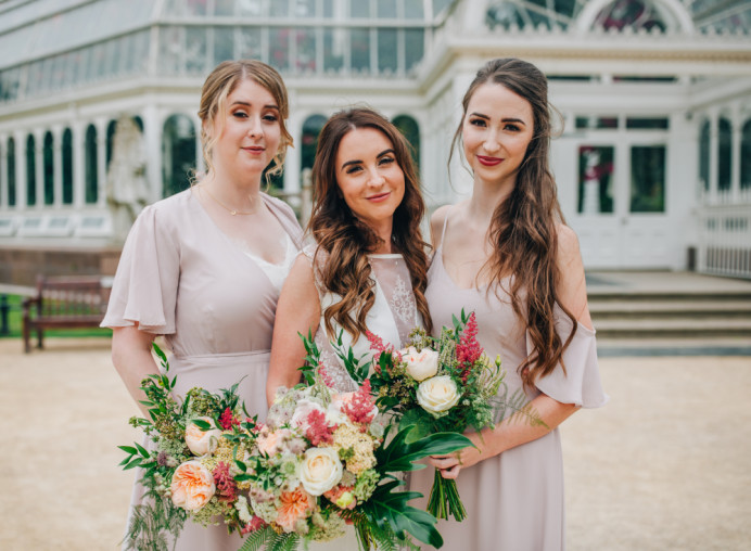 Gorgeous #GlamoramaBride Ruth and her beautiful bridemaids at the Palm House in Sefton Park - Make Me Bridal Artist: Glamorama Makeup. Photography by: Rachel Joyce Photography. #bohemian #boho