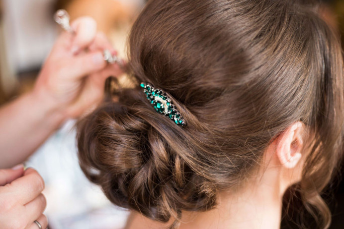 Detail of Ella's bridal updo - Make Me Bridal Artist: Glamorama Makeup. Photography by: Lucy Hannah Photography. #classic #glamorous