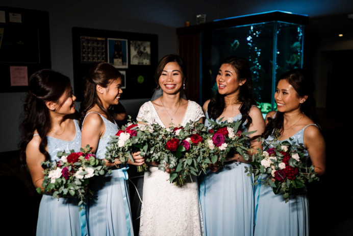Here is Tracy in her natural bridal look for her ceremony, with her stunning sisters (!) who were all bridesmaids. - Make Me Bridal Artist: Glamorama Makeup. Photography by: Madison Picture Photography. #classic