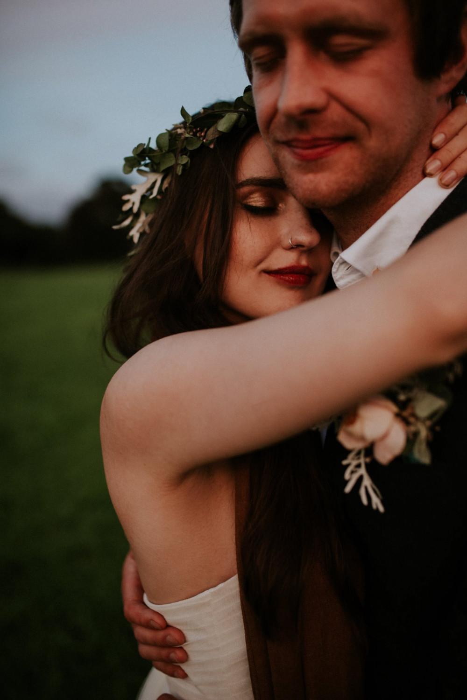 Alex & Matt's Autumnal Wedding. - Make Me Bridal Artist: Amy Potter Makeup Artist. Photography by: Enchanted Brides. #bohemian #vintage #boho #flowercrown #bridalmakeup #goldeyeshadow #tousled #bohobride #redlip #elopement