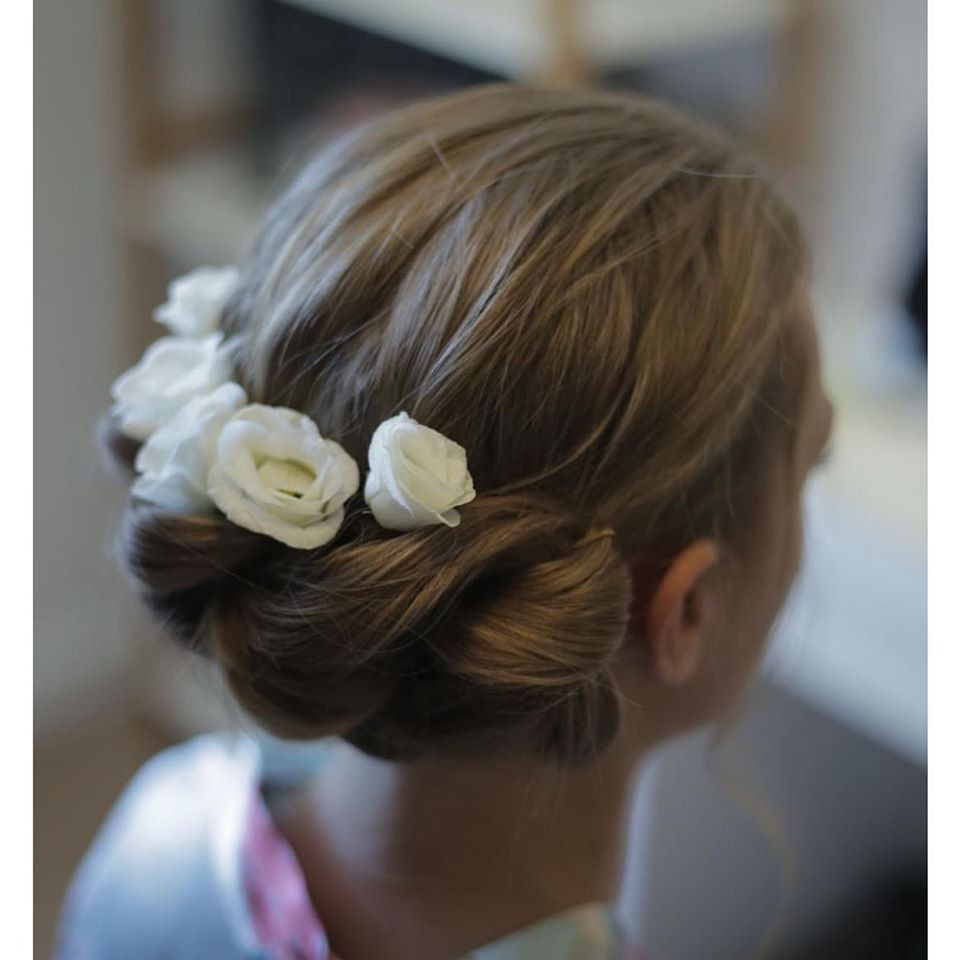 A lovely, simple braided updo, always very popular with bridesmaids. Beautiful to add flowers or pretty pins. - Make Me Bridal Artist: Linda Loves Hair. #classic #glamorous #gypsophila