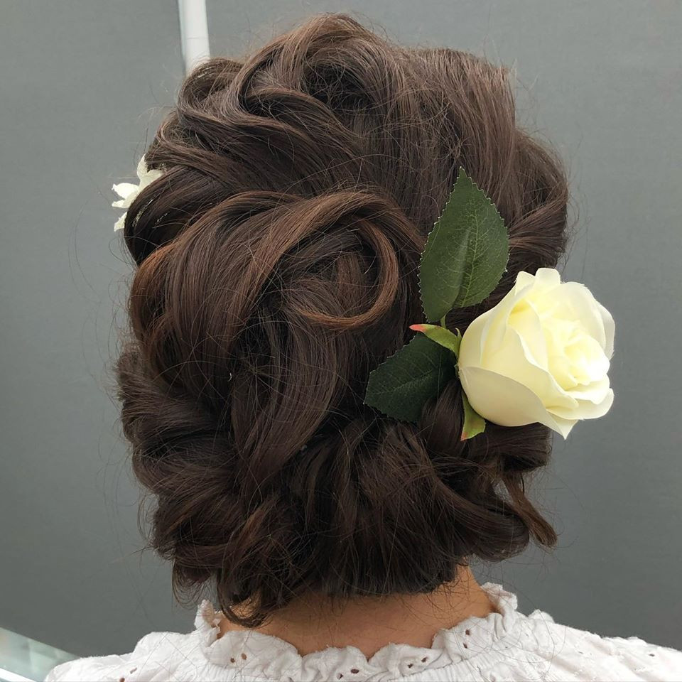 Lovely long hair, curled and pinned into an updo. - Make Me Bridal Artist: Linda Loves Hair. #curlyupdo #curlyhair
