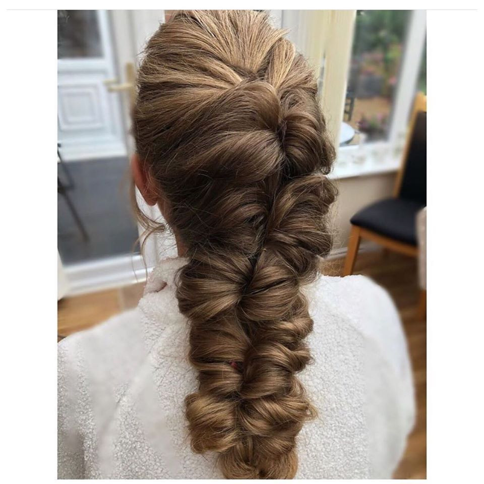 Another long braided style using elastics to secure into place. - Make Me Bridal Artist: Linda Loves Hair. #braidedupdo #longhair