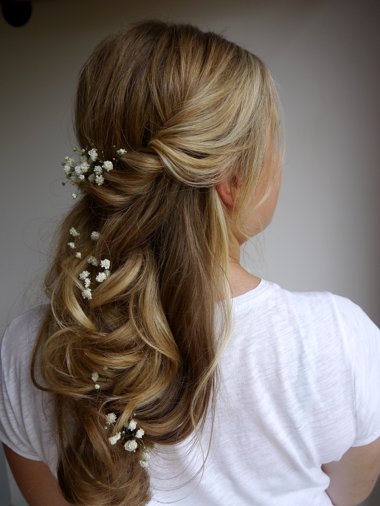 - Make Me Bridal Artist: Rosie Hart . #bohemian #boho #gypsophila #bridalhair #flowersinherhair #bridesmaidhair #hairdown #beachwaves #forthenaturalbride #bohobride #curlyhair #bride