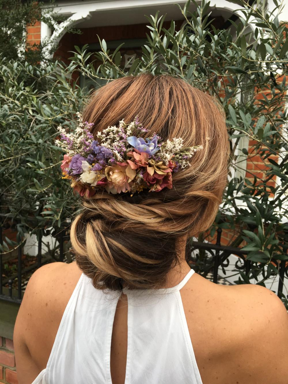 - Make Me Bridal Artist: Rosie Hart . #bridalhair #flowersinherhair #lowbun #natural #bohobride #texturedupdo #hairup #hairupideas #flowercomb