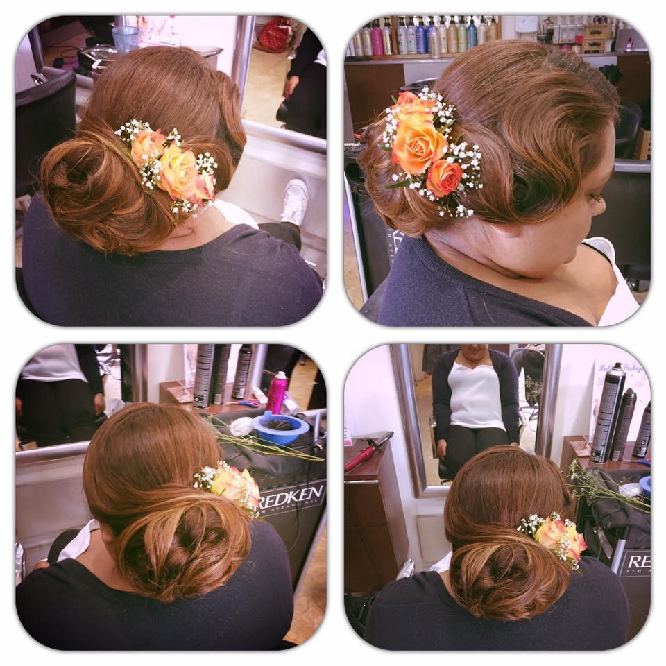 Real flowers used in this hair up style. Photo taken by myself. - Make Me Bridal Artist: Elizabeth Jane Wedding Hair .
