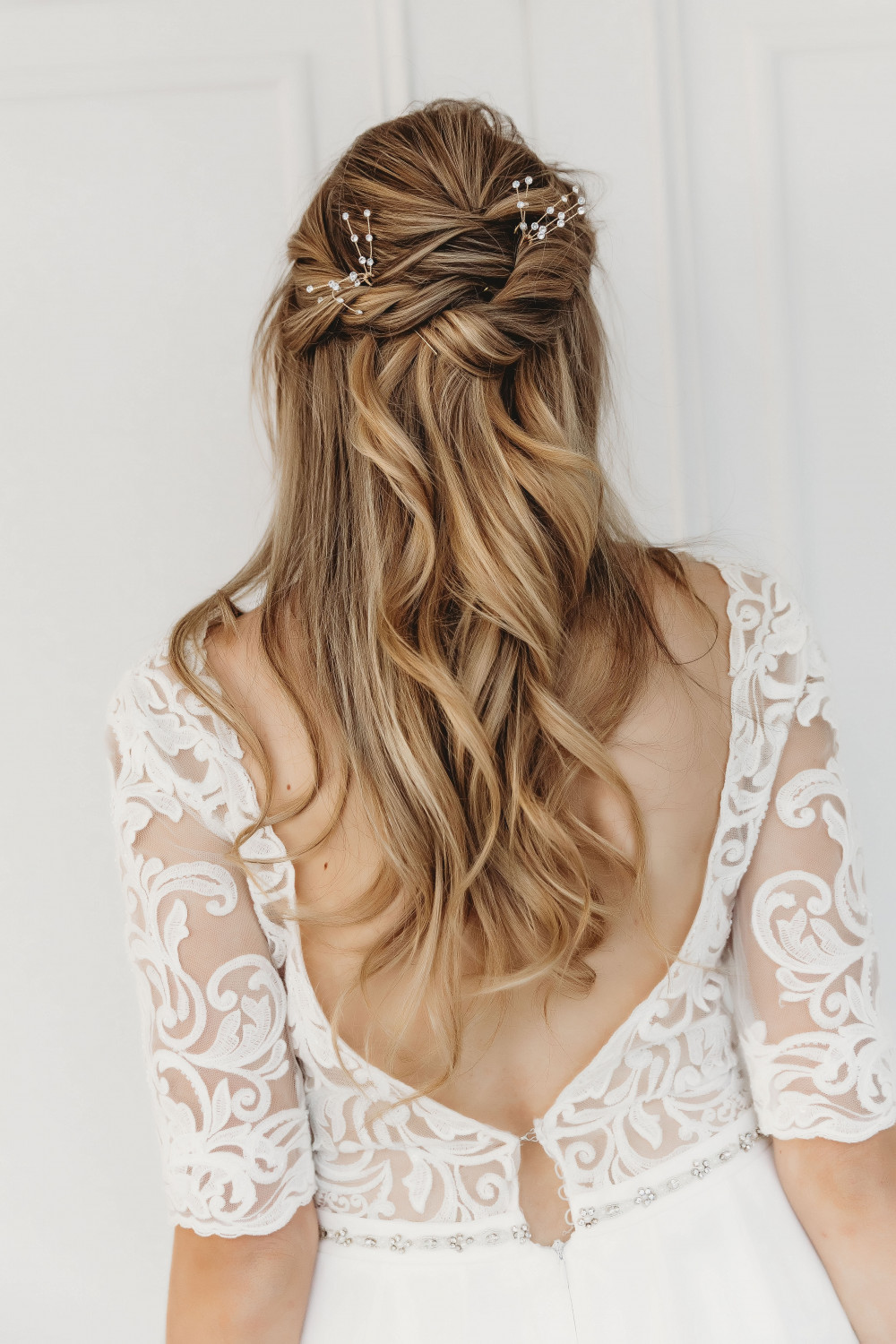 Half up half down style with some detail and texture - Make Me Bridal Artist: Alex hair and makeup. Photography by: Victoria crocker. #bridalhair #pretty #tousled #weddinghair #bridalhairstylist #bridesmaidhair #bride