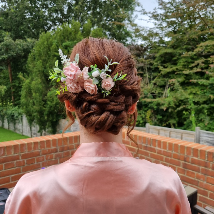 Detailed low bun using twists and plaits - Make Me Bridal Artist: Alex hair and makeup. #bridalhair #lowbun #bridesmaidhair #weddinghairup #hairstyle