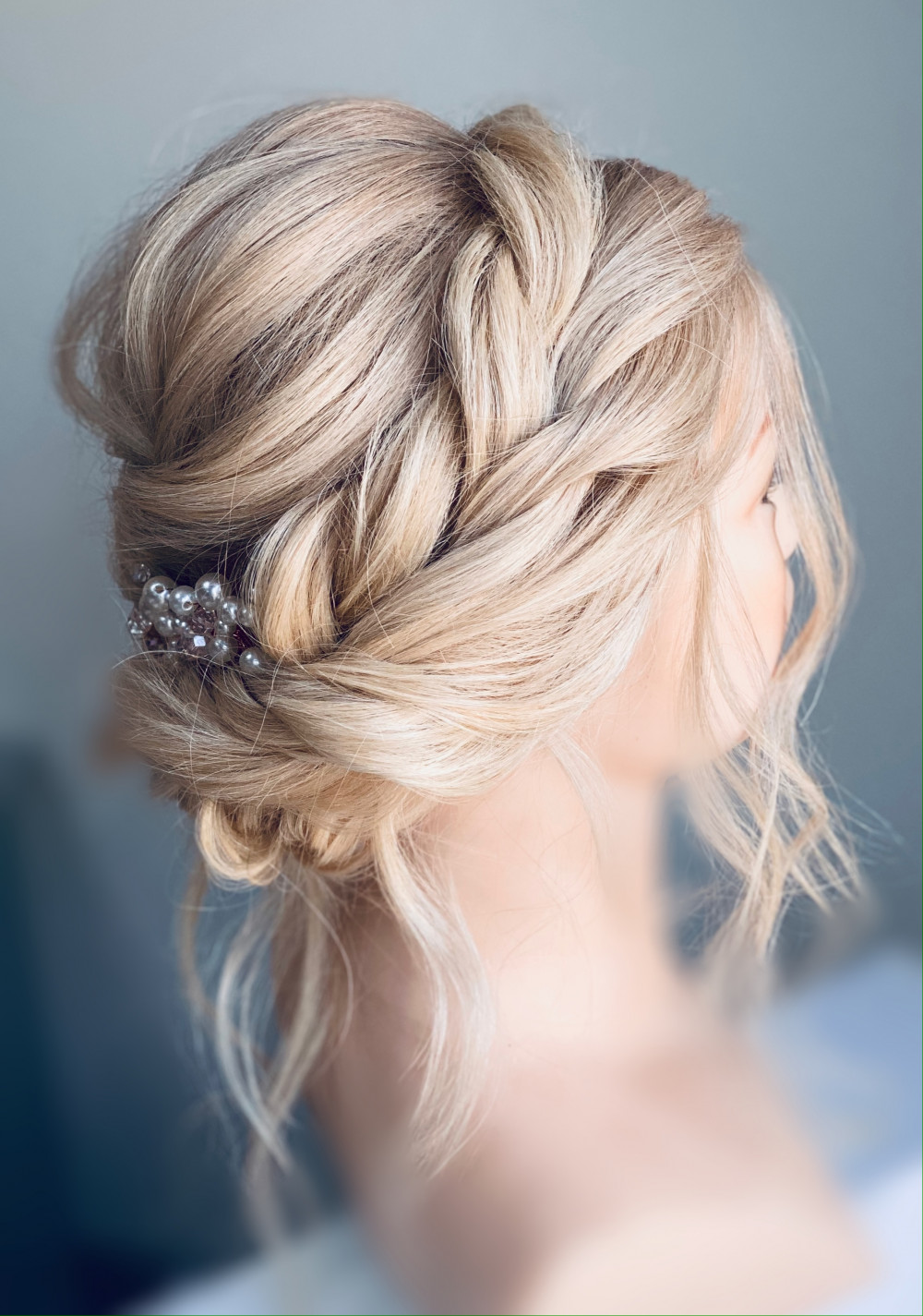Beautiful soft updo. Braided detail with soft trendals to keep everything flowing and pretty - Make Me Bridal Artist: Carter Hair & Makeup. Photography by: Me. #boho #bridesmaidhair #braidedupdo #bridalhairstylist #hairup #bridalhairup #softupdo #crownbraid #blondebride