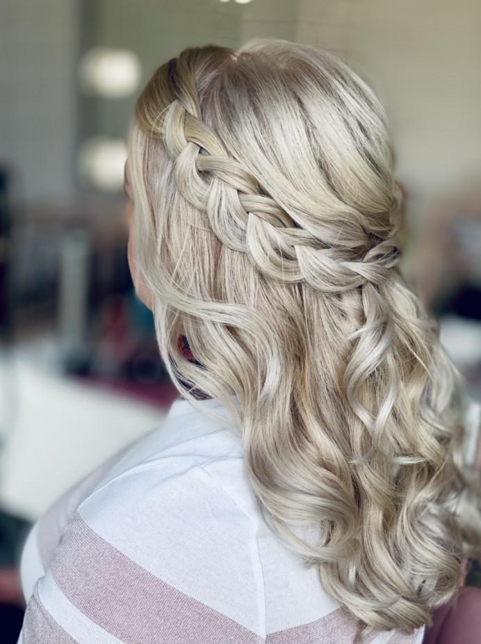 - Make Me Bridal Artist: Carter Hair & Makeup. Photography by: Me. #bohemian #halfuphair #bridalhair #bridesmaidhair #halfuphalfdown