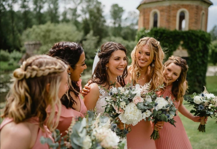 Laura and her Bridesmaids at Oxnead Hall - Make Me Bridal Artist: Hayley Clarke Makeup Artist. Photography by: Luis Holden. #bohemian #classic #boho #naturalmakeup #bohobride #glowingskin #summerwedding #glowingmakeup #makeupartistnorfolk #norfolkwedding #haylieclarkeymakeup