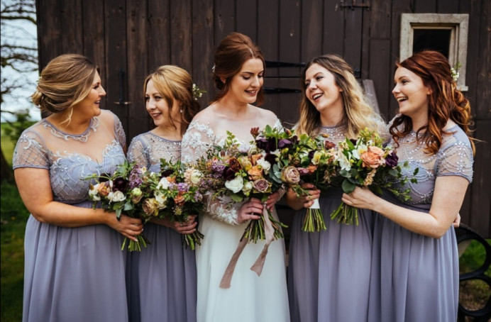 Alex and her stunning Bridal Party @ The Red Barn Norfolk - Make Me Bridal Artist: Hayley Clarke Makeup Artist. Photography by: Tom Calton Wedding's. #bridalmakeup #bridesmaidmakeup #bridalparty #glowingskin #naturalweddingmakeup #glowingmakeup #lincolnwedding #lincolnshire #norfolkmakeupartist