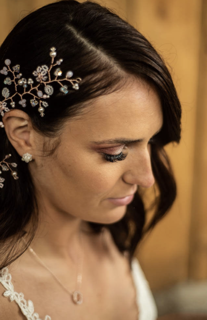Bridal Makeup for an Apple Blossom photoshoot - Dusky pink pigments a shimmers for a dreamy eye look, soft pink lips and flawless skin. - Make Me Bridal Artist: Makeup By Lisa Hannah. Photography by: Dan. #glamorous #naturalmakeup #bridalmakeup #smokeyeyes
