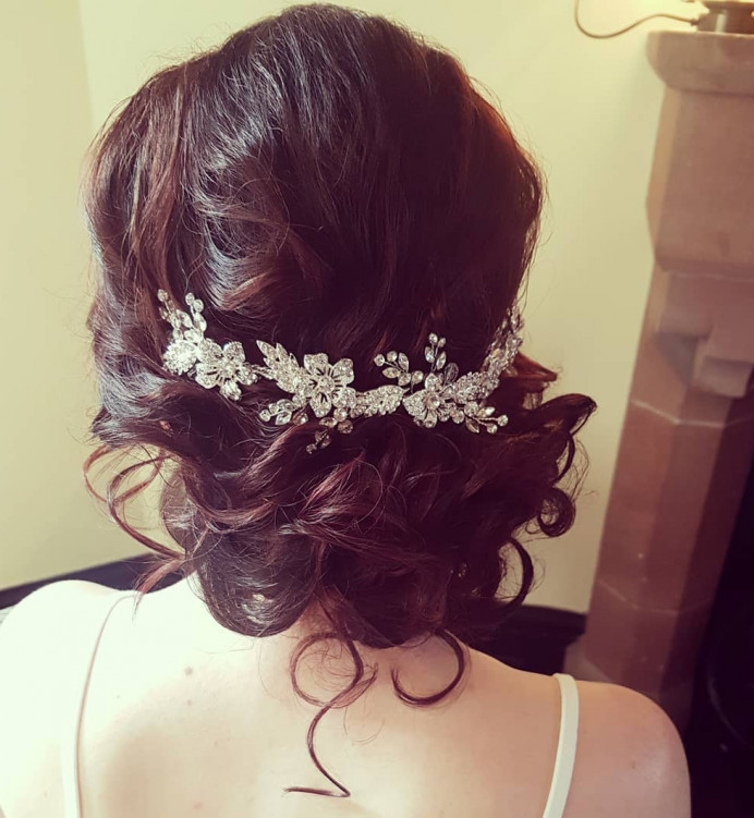 Gorgeous upfo I creqted at Peckforton Castle. Lovely venue! - Make Me Bridal Artist: Hair Creations North West. #glamorous #curls #bridalhair #bridalhairstylist #hairup #haircreationsnorthwest