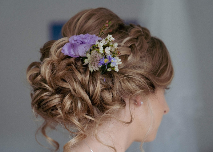 - Make Me Bridal Artist: Hair Creations North West. Photography by: Emilyetopping. #curls #bridalhair #flowersinherhair #soft #romantichairup #hairup #bridalhairstylist #flowers #plait