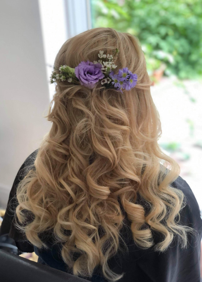 - Make Me Bridal Artist: Hair Creations North West. Photography by: Emilyetopping. #curls #flowersinherhair #bridesmaidhair #bridalhairstylist #bridalhair #realflowers