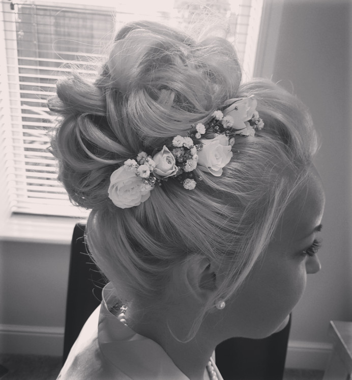 Bridesmaid hair updo I created a while ago. Sometimes a black and white photo is all you need. - Make Me Bridal Artist: Hair Creations North West. #flowersinherhair #hairup #weddinghair #bridalhair #bridesmaidhair #mobilehairstylist #haircreationsnorthwest #mobileweddinghair #hairuk #weddings2021 #weddings2020 #weddings2022 #freelance