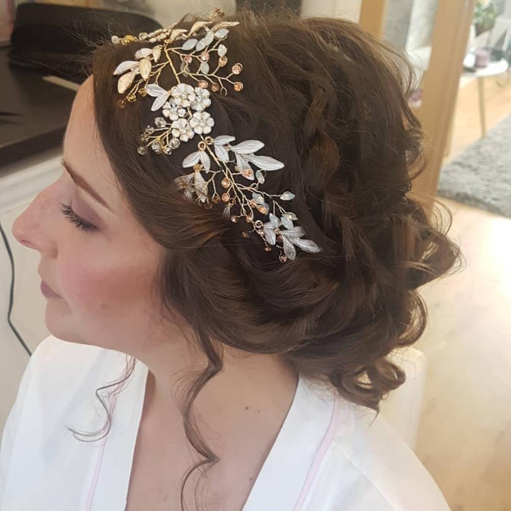 Boho bride, plaits, loose curls. I loved Abigails hair accessory. Stunning. - Make Me Bridal Artist: Hair Creations North West. #hairup #weddinghair #bridalhair #bohobride #bride